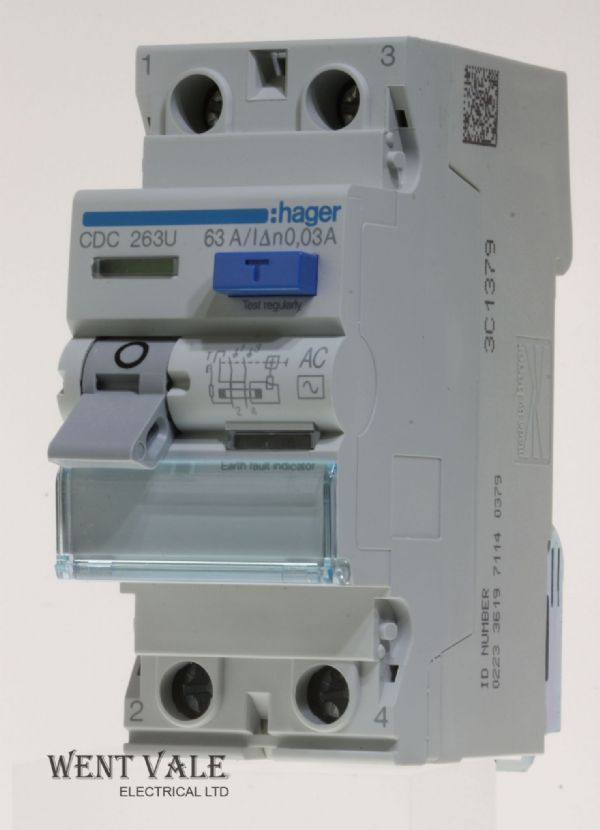 Hager CDC263U - 63a 30mA Double Pole AC RCCB New in Box